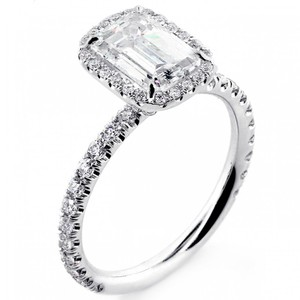 White Gold 1.82 Cts Emerald Cut Diamond with Halo Set In Platinum Engagement Ring