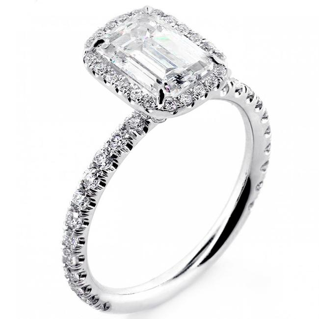 White Gold 1.82 Cts Emerald Cut Diamond with Halo Set In Platinum Engagement Ring White Gold 1.82 Cts Emerald Cut Diamond with Halo Set In Platinum Engagement Ring Image 1