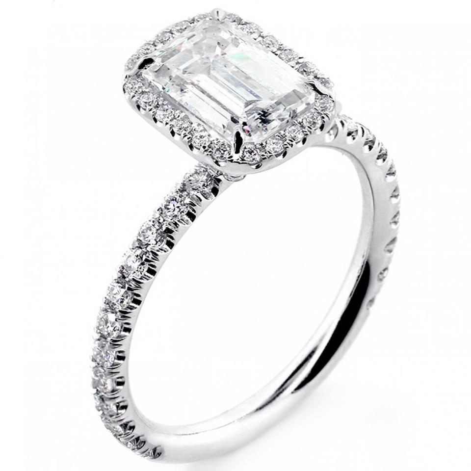 white gold cts emerald cut diamond with halo set in. Black Bedroom Furniture Sets. Home Design Ideas