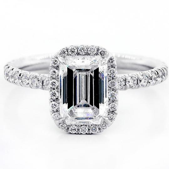 White Gold 1.82 Cts Emerald Cut Diamond with Halo Set In Platinum Engagement Ring Image 1
