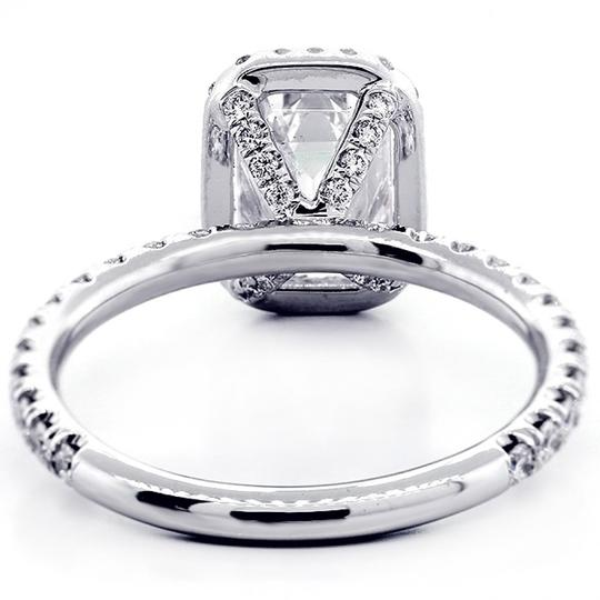 White Gold 1.82 Cts Emerald Cut Diamond with Halo Set In Platinum Engagement Ring Image 2