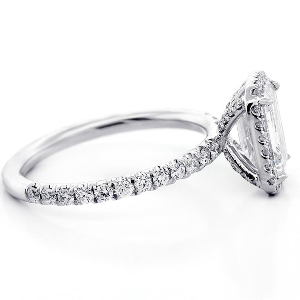 White Gold 1 82 Cts Emerald Cut Diamond With Halo Set In Platinum Engagement Ring 62 Off Retail