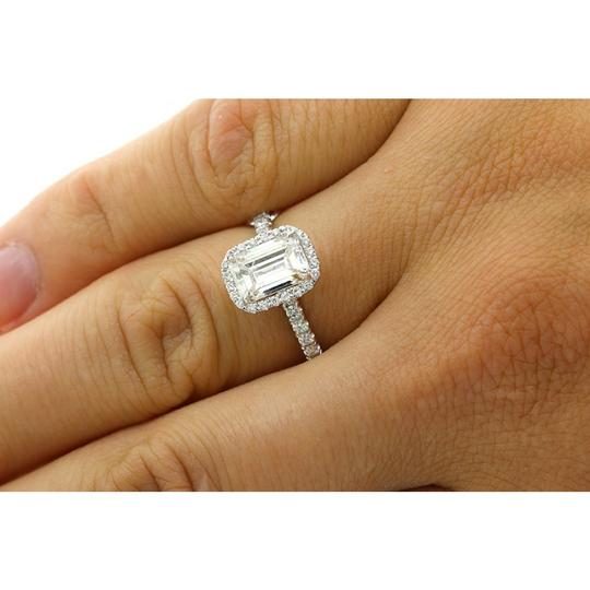 White Gold 1.82 Cts Emerald Cut Diamond with Halo Set In Platinum Engagement Ring Image 4