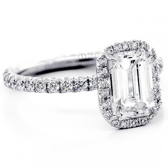 White Gold 1.82 Cts Emerald Cut Diamond with Halo Set In Platinum Engagement Ring Image 5