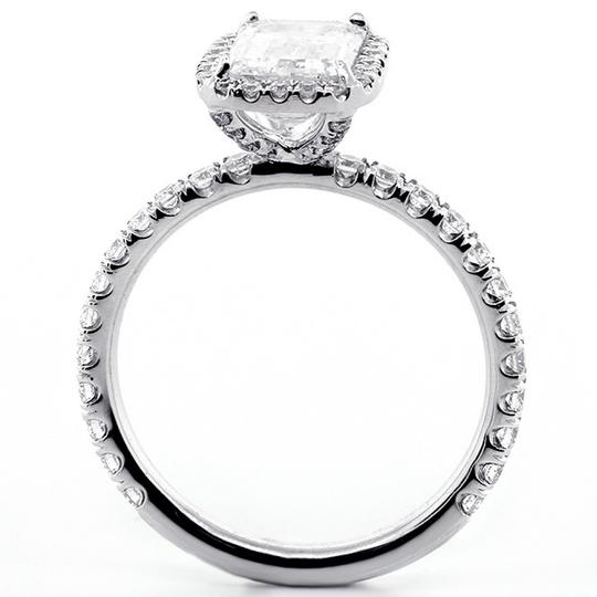 White Gold 1.82 Cts Emerald Cut Diamond with Halo Set In Platinum Engagement Ring Image 6