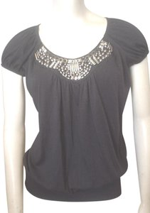 Perseption Concept Silvertone Beading Knit T Shirt Black