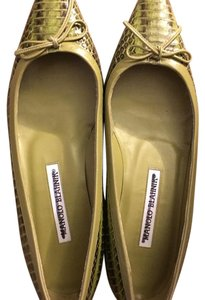 Manolo Blahnik green exotic Flats
