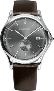 Emporio Armani Emporio Armani Swiss ARS1000 Gray Sunray Dial & Leather Strap Watch