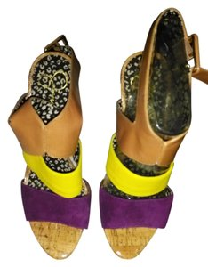 Jessica Simpson shoes purple. yellow, camel Clutch