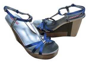 Prada Wedge Sandal Strappy Blue/Silver Sandals