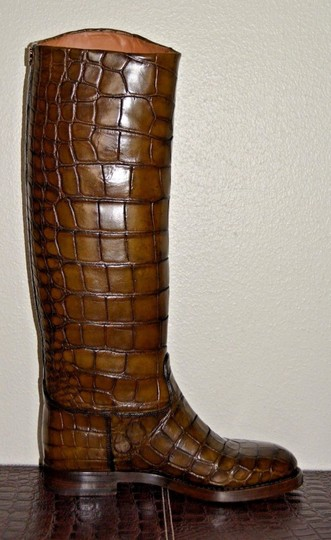 Gucci Leather Crocodile Brown Boots