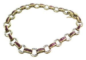 WLC 14K SOLID YELLOW GOLD BRACELET BANGLE 36 DIAMONDS .18 CARAT WLC DESIGNER RUBIES