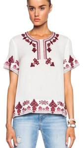 ELLE SASSON Top White, pink and burgundy.