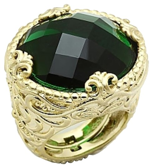Jill Zarin Jill Zarin Ring, 14k Gold-Plated Faceted Emerald Glass Stone Adjustable Ring