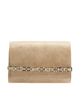 Jimmy Choo Choo Bow Crystal Bar Tan Clutch