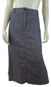 L.L.Bean Herringbone Straight New Petite Classic Maxi Skirt Dark Charcoal