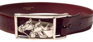 Barry Kieselstein-Cord KIESELSTEIN-CORD 925 Sterling Silver Horse Buckle & Alligator Belt M/L