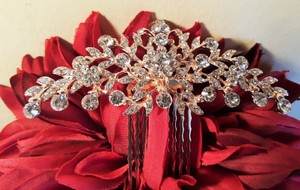 Bridal Rose Gold Austrian Crystal Hair Comb