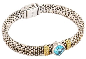 Lagos Lagos NEW Caviar Beaded Blue Topaz 18K Gold/Sterling Silver Bracelet