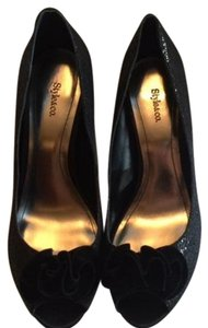 Style & Co Slight Shimmer Peep Toe Black Formal