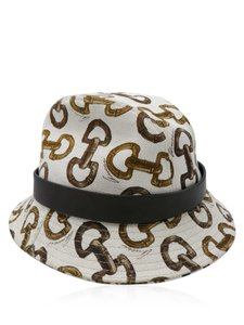 Gucci Gucci Ivory Brown Monogram Horsebit Sz S Bucket Hat