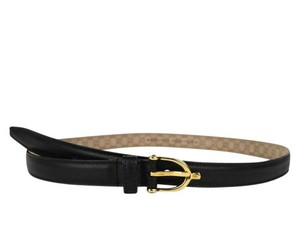 Gucci Gucci Women's Black Belt with Stirrup Buckle