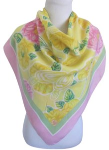 Escada Pink Yellow Floral Large Silk Scarf // 34