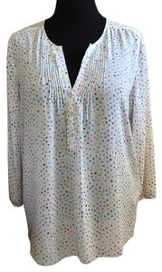 NYDJ Top White with pastel star print