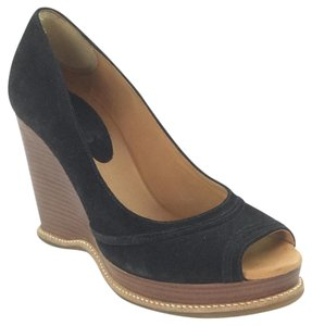 Michael Kors Wood Wedge Suese Open Toe Black Wedges
