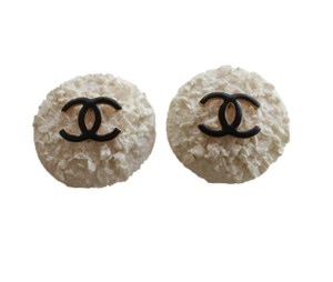Chanel White Textured Resin Black CC Earrings