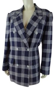 Carlisle Silk Blend Cotton Blend Plaid Navy & White Blazer