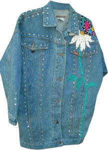 Jordache Embellished Vintage Ultrasuede Crystals Denim Blue Womens Jean Jacket