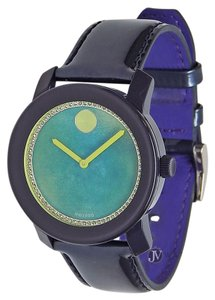 Movado BRAND NEW WOMENS MOVADO (3600267) BOLD DARK BLUE LEATHER STRAP WATCH