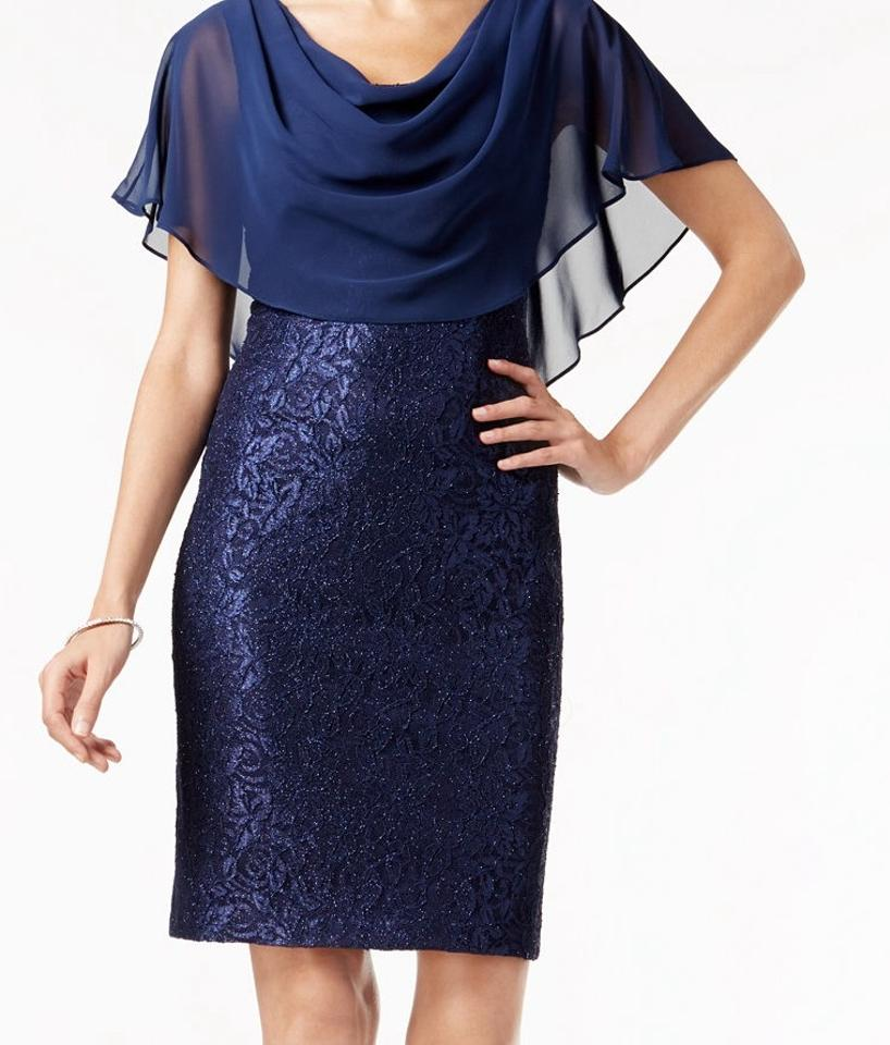 f067eacf54d Jessica Howard Navy Capelet Knee Length Cocktail Dress Size 24 (Plus ...