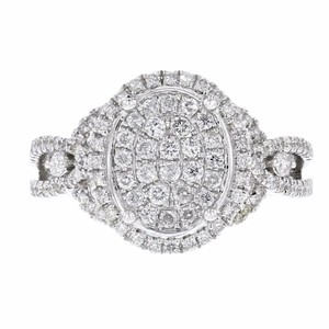 Other 0.68ct Pave Diamond 14k White Gold Oval Ring 7 G-h Si1-si2