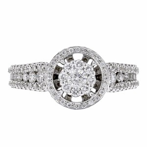 Other 1.03ct Pave Diamond 18k White Gold Cut Out Round Ring 7 G-h Si1-si2