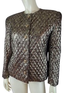 Carlisle Metallic Shorty Quilted Dynasty Swirly Bronze, Gold Blazer