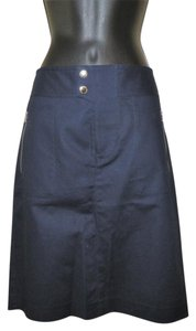 Lauren Ralph Lauren Pencil Stretchy Pockets Slit Skirt Blue