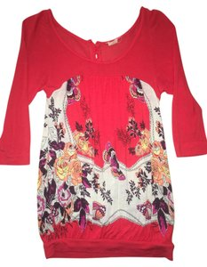 Free People Colorful Floral Quarter Length Top Red, orange, yellow, pink, white