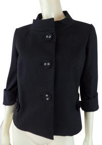 Etcetera Shorty Crop Vintage Stretch Stand-up Collar Black Blazer