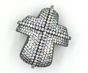 Black Rhodium Plated .925 Sterling Silver Cubic Zirconia Cross Pendant