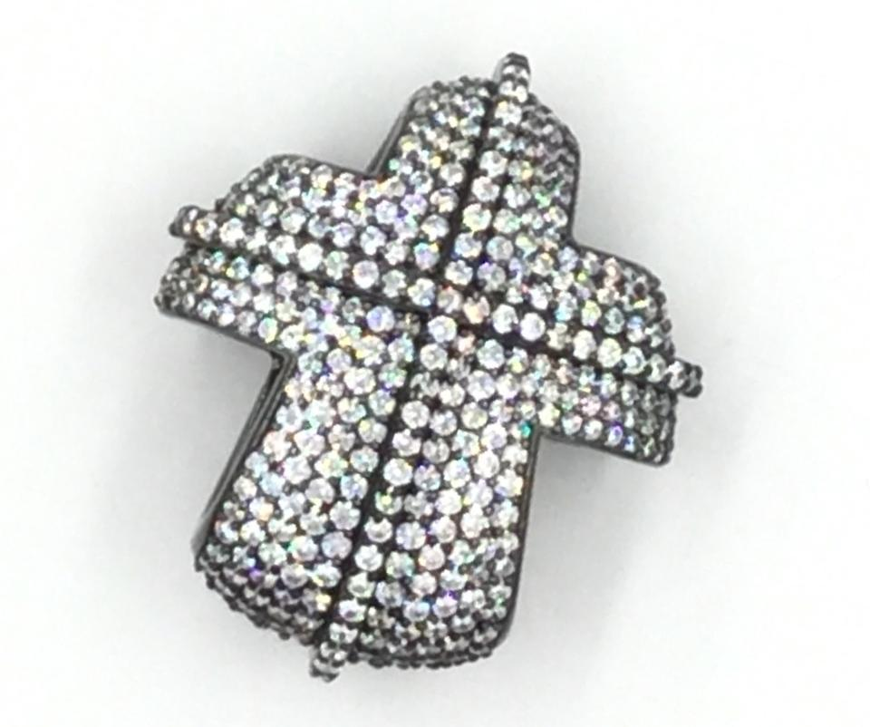 Black rhodiumwhite cz plated 925 sterling silver cubic zirconia other black rhodium plated 925 sterling silver cubic zirconia cross pendant aloadofball Image collections