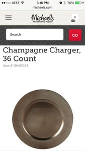 Michaels Champagne Chargers Tableware