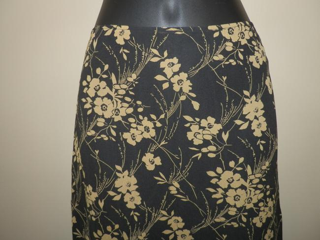 DKNY Silk Lightweight Sheer Lined Skirt Black and Tan Image 1