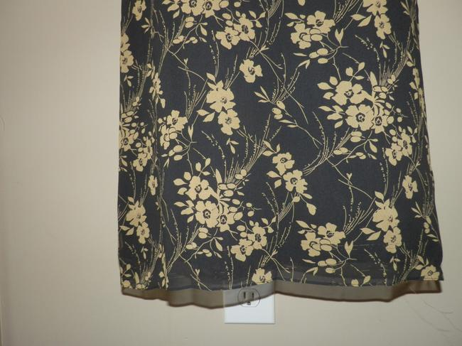 DKNY Silk Lightweight Sheer Lined Skirt Black and Tan Image 2
