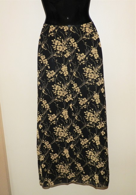 DKNY Silk Lightweight Sheer Lined Skirt Black and Tan Image 3