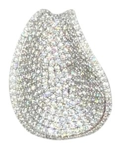 Rhodium Plated.925 Sterling Silver Cubic Zirconia Teardrop Pendant