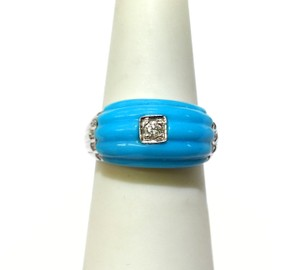 DeWitt's White Gold Diamond & Turquoise Ring Sz 7
