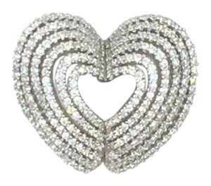 Rhodium Plated .925 Sterling Silver Cubic Zirconia Heart Pendant