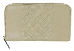 Bottega Veneta NEW BOTTEGA VENETA Leather Woven Zip Around Wallet Tan 114076 2903